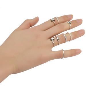 R-1362   7 Pcs/set Fashion Vintage Knuckle Nail Midi Ring Set Hollow Rhinestone Love Christmas Gift