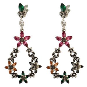 E-3801  Elegant Retro Silver Big Long Drop Earrings Crystal Rhinestone Flower Dangle Earring Valentine's Day for Lady