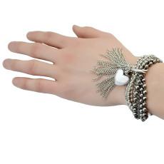 B-0725  Punk Style Bracelet Multilyer Chain Heart Shape Tassel Crude Bangle Bracelet Party Jewelry