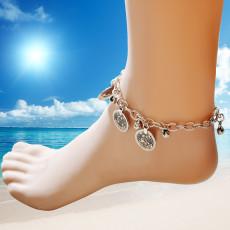B-0726  Bohemian Vintage Style Silver Bracelet Carving Bell Anklet Bracelet Jewlery