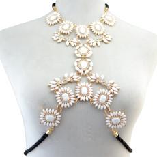 N-6279   Vintage Fashion Summer Beach Leather Chain Charm Sexy Body Chain Resin Flower Crystal Rhinestone Necklace Women Jewelry