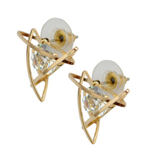 E-3803   Fashion triangle Star Shape /cross shape /square shape Silver/Gold Clear Crystal Stud Earring For Girls & women Jewelry