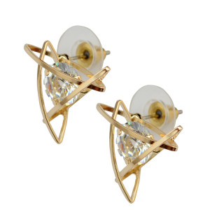 E-3803   Fashion triangle Star Shape /cross shape /square shape Silver/Gold Clear Crystal Stud Earring For Girls & women Jewelry