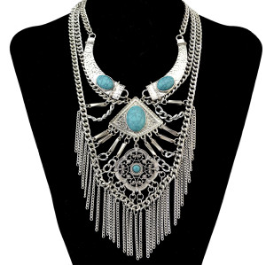 N-6276  Bohemian Tibetan Multilayer Chain Silver/Gold Plated Long Tassel Pendant Natural Turquoise Rhinestone Statement Necklace