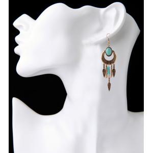 E-3805 Bohemian tibetan Alloy triangle pendant turquoise beads dangle earrings women jewelry