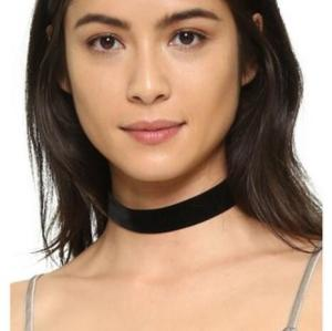 N-6255  Fashion Black Leather Nylon Rope Statement Choker Necklace