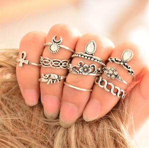 R-1361   10Pcs/set Fashion Vintage Rhinestone hollow out Knuckle Nail Midi Ring Set  jewelry