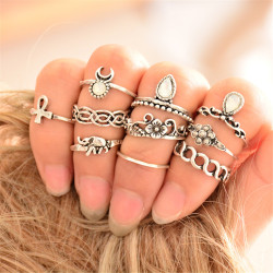 R-1361   10Pcs/set Fashion Vintage Rhinestone hollow out Knuckle Nail Midi Ring Set  jewelry