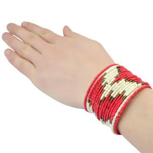 B-0741  New Design Elegant Handmade Red  Resin Alloy Jewelry Crew Wide Bracelet Cuff
