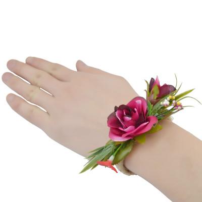 B-0745   New Design Elegant Handmade Weave Rope Bracelet Adjustable Beautiful Flower Leaf Wide Cuff Bracelets For Women Jewelry