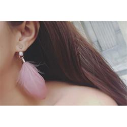 E-3809 Bohemian Style Pearl Crystal Long Feather Drop Pendant Tassel Dangle Earrings for Women Jewelry