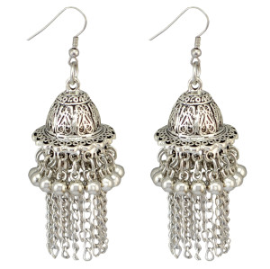 E-3810 Women' s Cute Ear Jewelry Drop Dangle Hat Design Tassel Beads Hook Earring