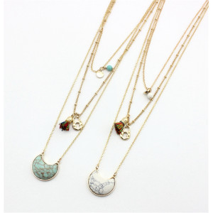 N-6284 Fashion Rope Tassel Multilayer Chains Gold Necklaces Moon Shape Natural Turquoise Long Necklace Women Jewelry