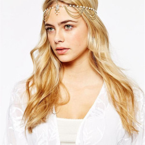 F-0332 European style gold plated head chain cool metal tassels  headband hair jewelry