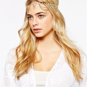 F-0332 European style gold plated head chain cool metal tassels  headband hair jewelry