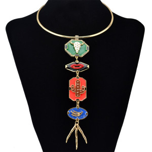 N-6280 Punk Style Fashion Gold Necklace Long Tassel Pendant Geometric Shape Crystal Rhinestone Choker Necklace Women Jewelry