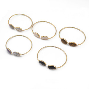 B-0746   Fashion Gold Plated Adjustable Cuff Bangle Natural Stone Bracelet 6 Colors