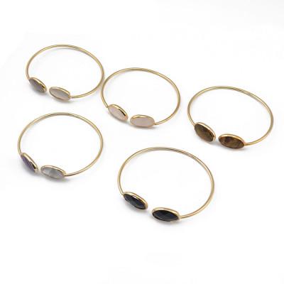 B-0746   Fashion Gold Plated Adjustable Cuff Bangle Natural Stone Bracelet 6 Colors