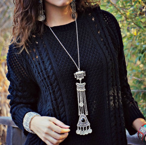 N-6286 Fashion Silver Plated Pendant Necklaces Tassel Carving Natural Turquoise Long Necklace Women Jewelry