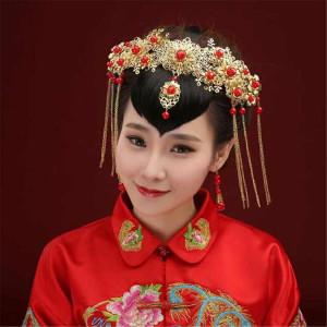 F-0328 classical style gold plated red rhinestone head chain cool metal tassels headband hairwear accessories