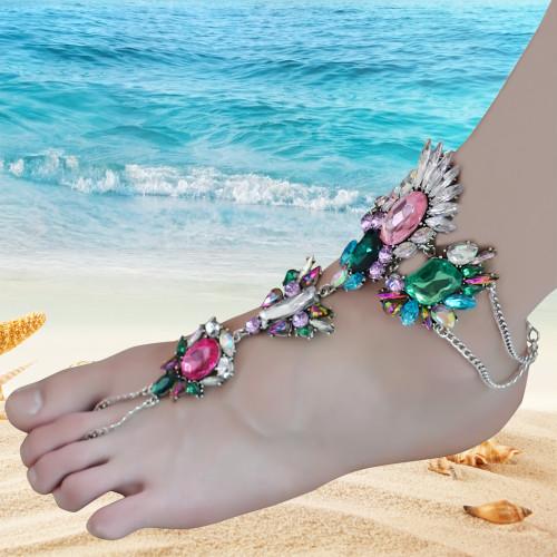 B-0744   Bohemian Gypsy  Charm Crystal Rhinestone Flower Beads  Beachy Anklet for Women Jewelry