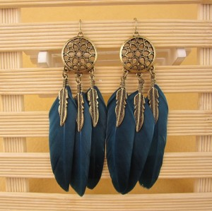E-3686  Bohemian vintage gold metal leaves blue black feather tassel dangle earrings for women