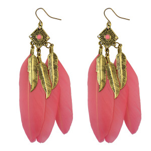 E-3639  Vintage Bronze Leaf Blue Black Pink Feather Earrings for Women New Charming Ethnic Jewelry Dangle Earrings