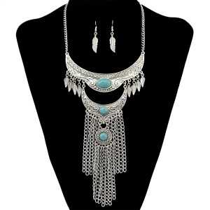 N-6291 Bohemian Retro Silver Gold Chain Turquoise Bead Tassel Leaves Pendant Necklace Earring Jewelry Set for Women