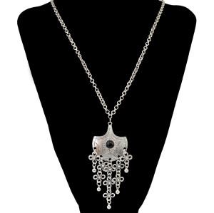 N-6288 Fashion Bohemian  Silver Plated  Chain Black  Round Turquoise Long tassel  Flower Shape Tassel  Pendant Necklace Women Jewelry