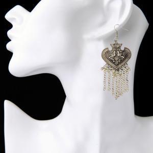 E-3812 Bohemian Vintage Silver Alloy Earring Heart shape carving Tassel Bell Hook Earrings Jewelry