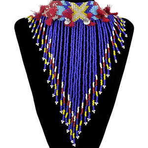 N-6287 Bohemian Tibetan Long Tassels Bell Rope Round Metal Sheet Silver Chain Colorful Resin Beads Statement Necklace Women Jewelry