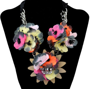 N-6297 Bohemian Fashion Black Rope Chain Leather Cloth Flower Resin Beads Crystal Rhinestone Statement Necklace Women Jewelry