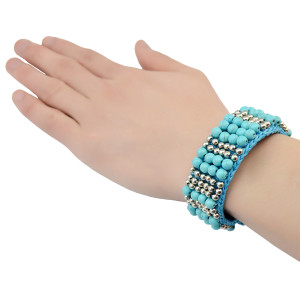 B-0751 Bohemian Style Handmade Bracelet Turquoise Beads wide cuff Bangle Bracelet Jewelry for Women