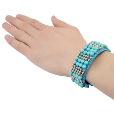 B-0751 Bohemian Style Handmade Bracelet Turquoise Beads wide cuff Bangle Bracelet Jewelry for Women