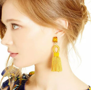 E-3816 Generous Big Long Drop Earrings Crystal Flower Dangle Beaded Stud Tassel Earring 5 Colors