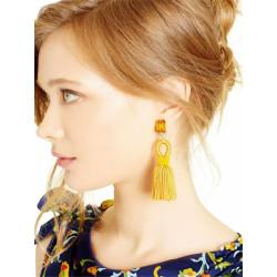 E-3816 * Generous Big Long Drop Earrings Crystal Flower Dangle Beaded Stud Tassel Earring 2 Colors