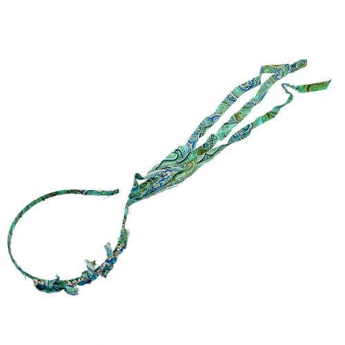 F-0335 Bohemian Women Hair Clasp Hair Strap Hair Ties Green Cloth Wrapped Crystal Headband