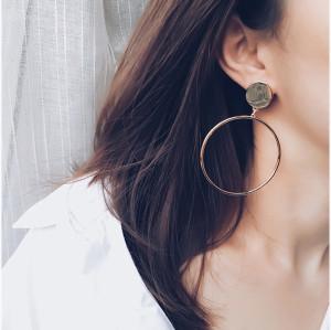 E-3814 Korean Exaggeration Drop Geometry Round Hoop Earring Big Ring Stud Earrings Personality Earring