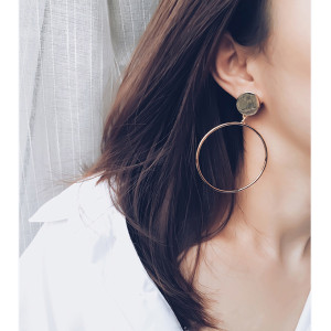 E-3814 Korean Exaggeration Drop Geometry Round Hoop Earring Big Ring Stud Earrings Personality Earring