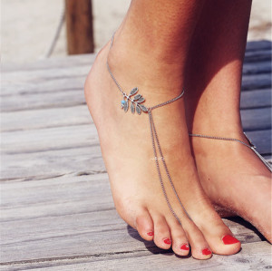 B-0750 New Fashion Bohemian Style Silver Tassel Chain Charm Ankle Chain For Women Jewelery