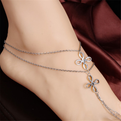 B-0749 Fashion Silver Plated Anklet Flower Shape Chain Anklet Bracelet Jewelry for Women