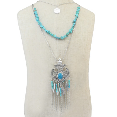 N-6295 2016 fashion Bohemian Retro Silver plate Chain Turquoise Bead Tassel Leaves shape Pendant Necklace Jewelry for Women