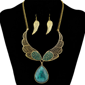N-6298 Fashion Silver Gold Short Chain Turquoise Bead Statement  Choker Necklace and leaf  Earring Set for Women Jewelry