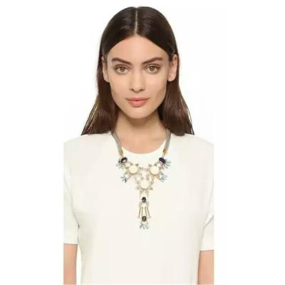 N-6292 Fashion Bohemian  Silver Plated  Chain Black  Round Turquoise Long tassel  Flower Shape Tassel  Pendant Necklace Women Jewelry