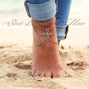 B-0748 Fashion Boho Silver Plated Summer Flower Shape Anklet Bracelrt chain Anklet   Jewelry for Women