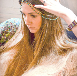 F-0333 European Fashion style gold plated head chain cool blue pearls shape chain  headband hair jewelry for women