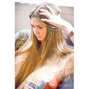 F-0333 European Fashion style gold plated head chain cool blue pearls shape chain  headband hair jewelry for women