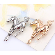 P-0319  New Fashion Vintage Silver Gold Plated Metal Horse Brooch Pin Jewelry For Men