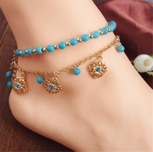 B-0756 2pcs Set Bohemian Fashion Gold Plated Anklet turquoise beads Crystal Anklet Bracelet Jewelry for Women