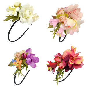 F-0339 Floral Hoop Wedding Handmade Hairband Ribbon Flowers Leaves Headband Hair Accessories for Bridal  4 Colors